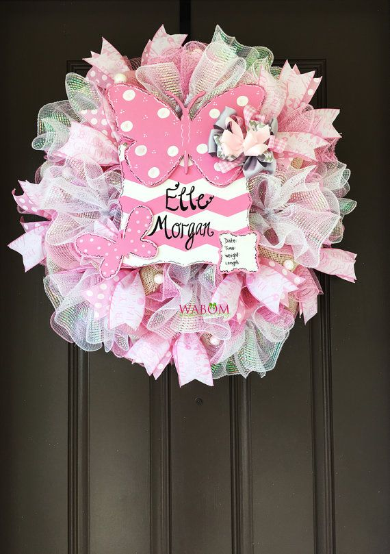 Deluxe Personalized Pink Burlap Butterfly by WreathsandBowsOhMy