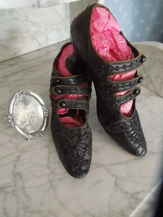 Late Victorian Edwardian Downton Abbey Titanic Era Ladies Black Beaded Shoes with Court Heel Rare Collectors Dream