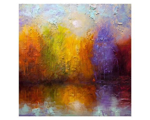 Modern Colorful Abstract Painting Textured Blooming Trees Painting Colorful Forest Wall Art Large Landscape Painting By Osnat In 2020 Reflection Painting Modern Painting Colorful Abstract Painting
