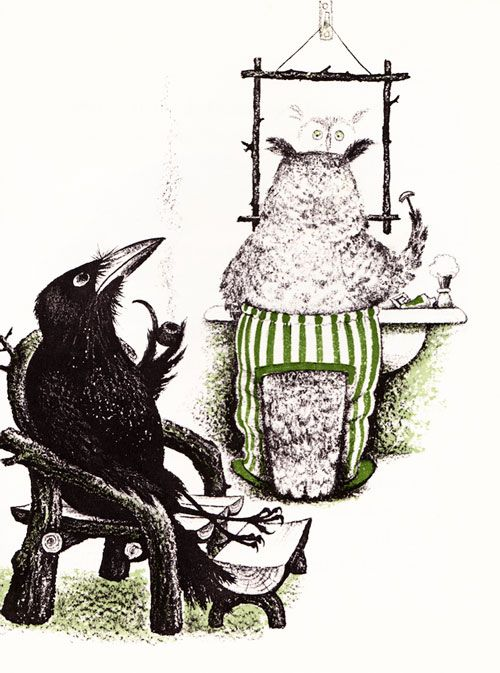 Gorgeous vintage and modern illustrations from Aldous Huxley's only children's book, The Crows of Pearblossom, with stunning black-white-and-green illustrations by Barbara Cooney | Brain Pickings