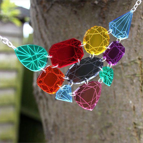 Gemstone necklace laser cut mirror acrylic by sugarandvicedesigns