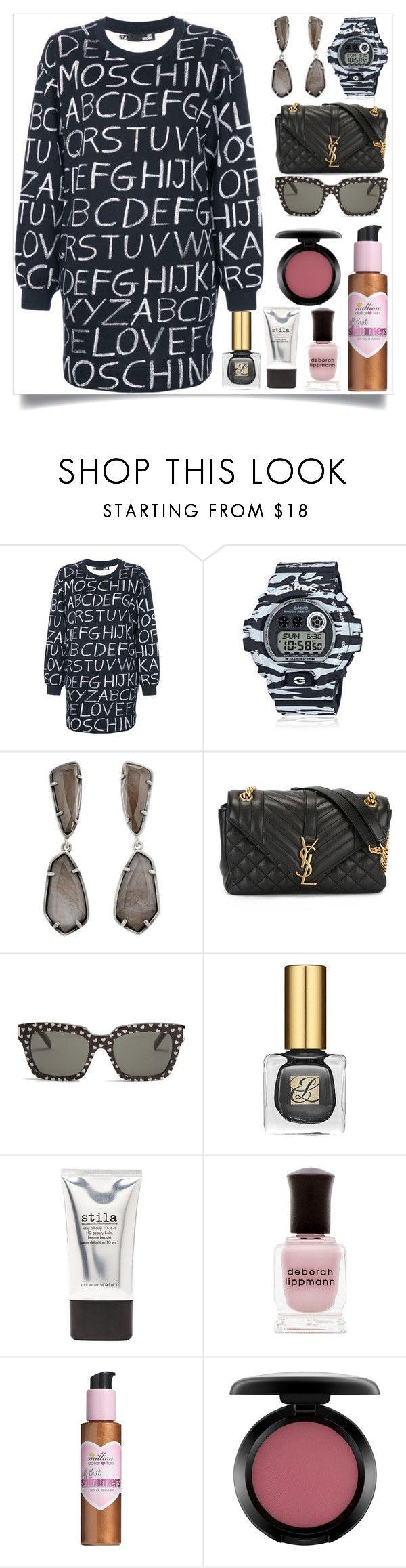 """Alphabet Print Sweater Dress"" by camry-brynn ❤ liked on Polyvore featuring Love Moschino, G-Shock, Kendra Scott, Yves Saint Laurent, Stila, Deborah Lippmann, Million Dollar Tan and MAC Cosmetics"
