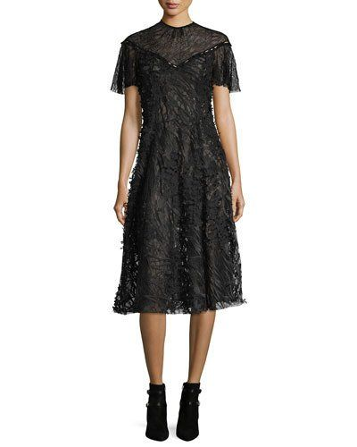 B3V3U Prabal Gurung Wing-Sleeve Floral Lace Midi Dress, Black