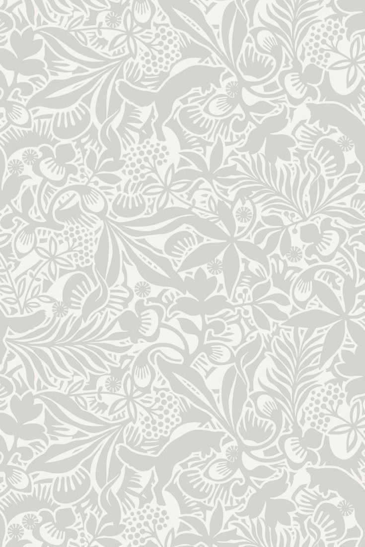 Images of pouncing foxes combined with an array of floral motif and leaves  to create this stunning wallpaper  Showing in soft grey on a white  background. 17 Best ideas about Scandinavian Wallpaper on Pinterest   Textile