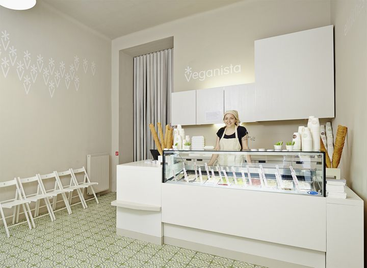 Veganista ice cream parlor by Ulrich Huhs & Gabriele Lenz, Vienna Austria ice cream store design