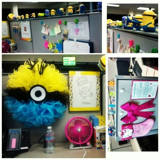 Minions custom superfan wreath yellow blue cubicle for Cubicle theme ideas