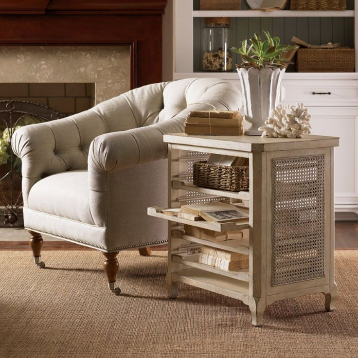 Lexington Home Brands Twilight Bay Olivia Rectangle Antique Linen Wood End Table - We won't stop you if you want to pay antique prices, but when you can save time and resources by adding the style of the Lexington Twilight Ba...