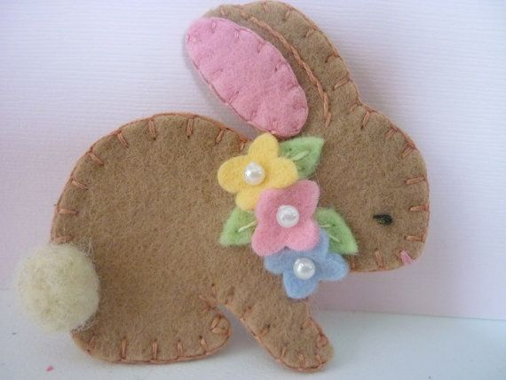 Felt Bunny Brooch Spring Beaded Flowers Felted by pennysbykristie, $14.50
