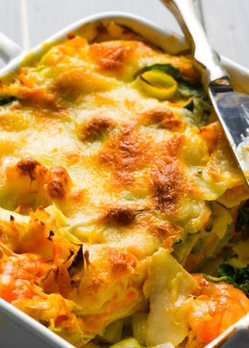 Lasanha de bacalhau com legumes