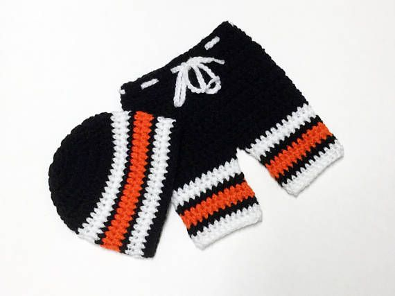 Crochet Hockey Outfit Philadelphip Flyers Baby Diaper Set Hat