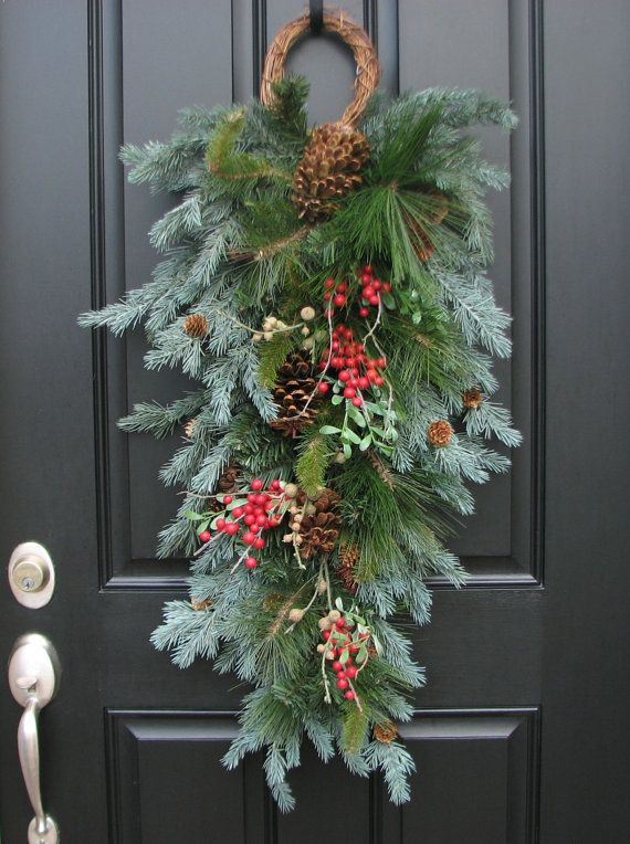 cute swag instead of a wreath for the front door