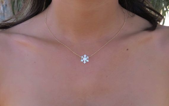 Opal necklace opal snowflake necklace white opal by miniLALI