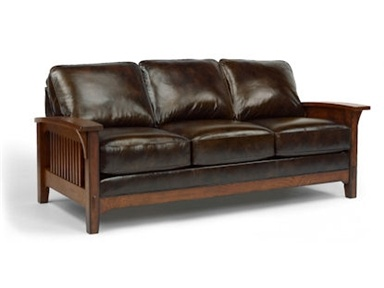 Leather Sleeper Sofa Love the mission style not sold on the look of the leather Las Cruces Leather Sofa by Flexsteel