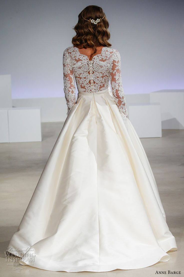 anne barge fall 2017 bridal lace illusion long sleeves v neck heavily embellished bodice top a  line wedding dress pockets lace illusion back sweep train (brooks) bv
