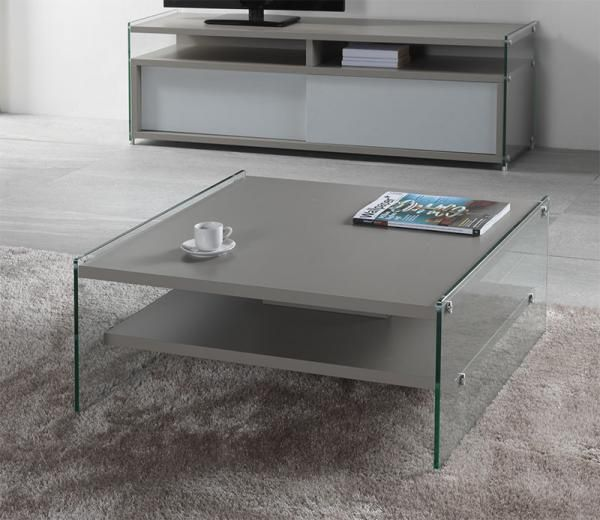 modern glass square coffee table in a choice of wood veneer white or grey