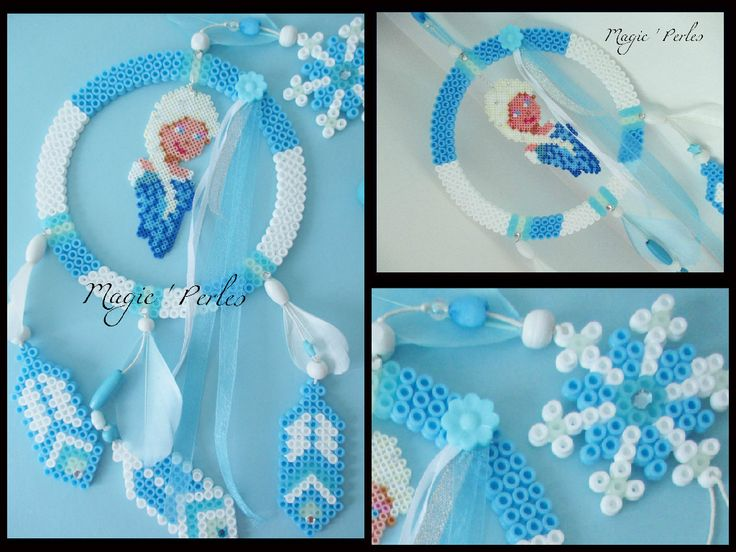 Frozen dreamcatcher hama perler beads - Original design by Magic-perles