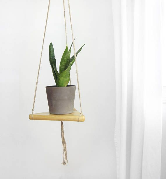 Vintage Wood and Jute Plant Holder for DIY Wall Hanging