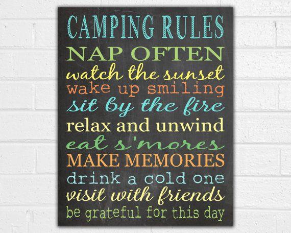 Camping Rules Print - Camping Sign - Vintage Camper Decor - Camper Art - RV Sign - Outdoor Decor - Camping Party - Camping Gifts