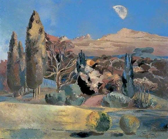 """Landscape of the Moon's First Quarter"" by Paul Nash, 1943 (oil on canvas)"