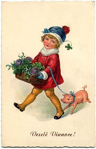 Historical Slovak Christmas cards - kid with flowers.