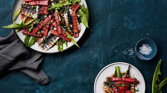 Rhubarb is often overlooked for savoury starring parts, but its tartness and slight sourness shines when paired alongside sardines. Charred, smoky and mustardy flavours all combine here to make this a bold dish. #TheSeasonalCook