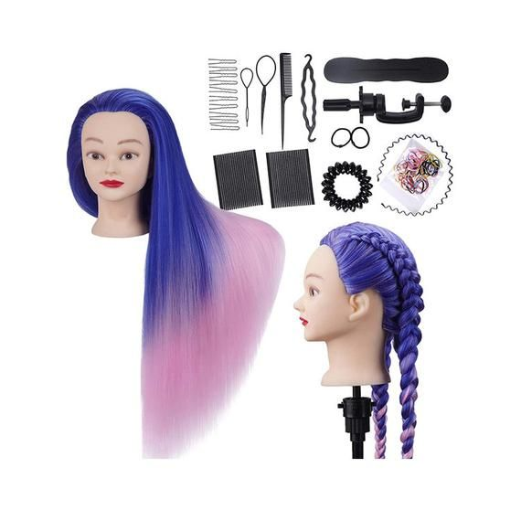 Cosmetology Mannequin Head Hairdressing Stying Head Hair Styling 28inches Training Head Synthetic Fi In 2020 Head Hair Model Hair Hair Styles