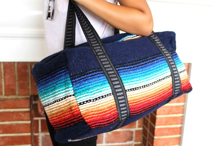 """*ORDERS OF THREE OR MORE SHIP FREE IN CONTENTAL U.S.-enter code DONESHOPPING at checkout!The only bag you'll ever need!Each features an extra-thick, woven serape exterior, full lining, wide straps, and heavy duty zipper.This big, unisex bag makes an ideal and useful gift and holds everything you need for the beach, gym, baby, yoga class, an overnight trip. or as a travel carry-on. Choose from several vibrant colors.Extremely limited quantities!Measures 18""""x10"""