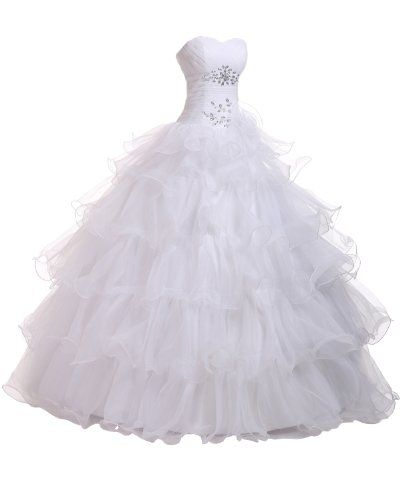 Sunvary Sweetheart Organza Ball Gown Prom Dress Quinceanera Dress Long AEL173 US Size 8- White - Click image twice for more info - See a larger selection of prom dresses at http://girlsdressgallery.com/product-category/prom-party-dresses/ - woman, girls, junior dresses, girls dresses, teenager, girls fashion, womens fashion, gift ideas, dresses,special occasion dresses , night dresses, party dresses, gown