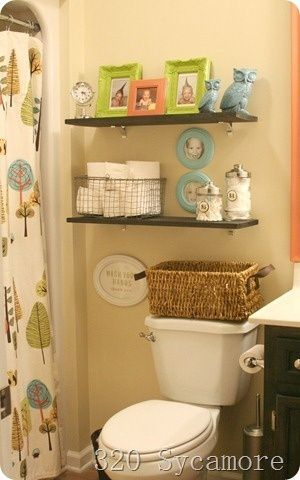 Kid Bathroom Love The Shelves And That Shower Curtain
