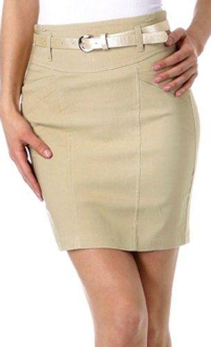 Petite Stretch Short Pencil Skirt with Skinny Belt $21.99