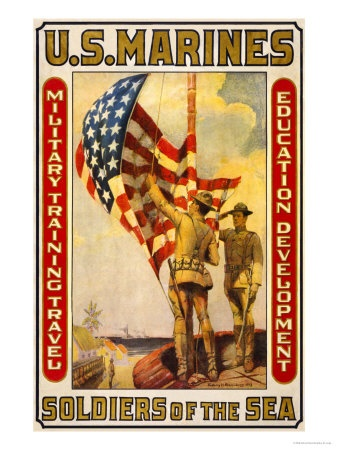 Soldiers of the Sea, Military Training Travel Education Development Premium Poster by Sidney Riesenberg