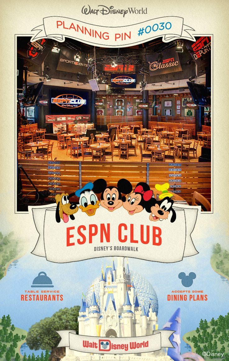 Walt Disney World Planning Pins: Serious about sports? Experience the ultimate in sports entertainment, dining and shopping at Disney's BoardWalk.