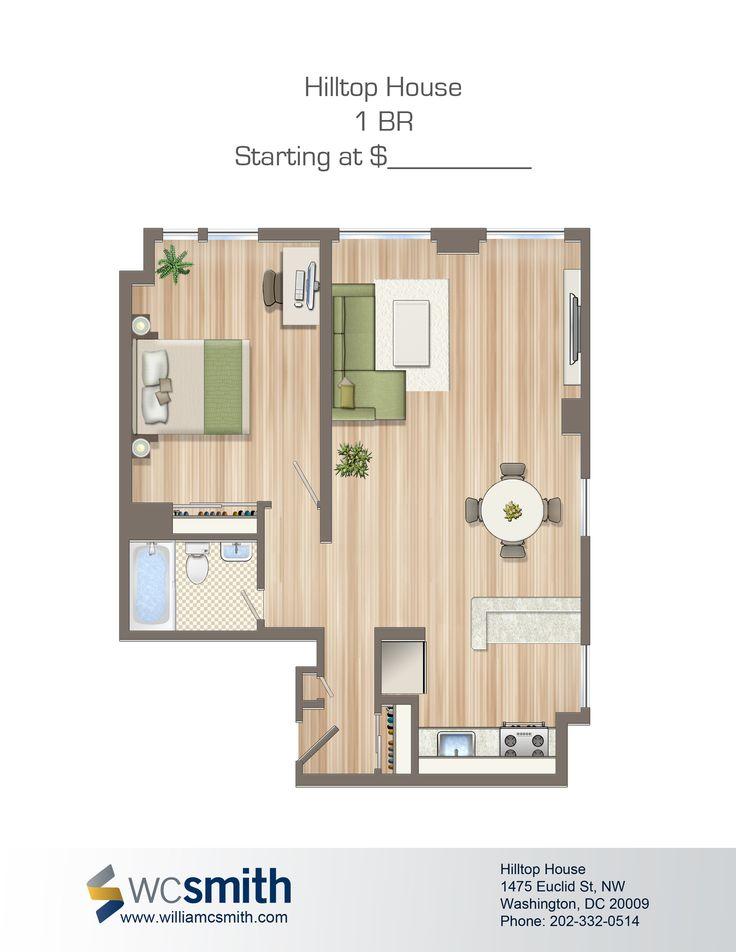 One Bedroom Floor Plan | Hilltop House in Northwest Washington DC | WC Smith Apartments | Mount Pleasant Rentals