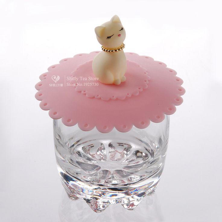 1pcs Cute Cat Silicone Glass Cup Cover Coffee Mug Suction Seal Lid Cap Silicone Airtight Love Creative