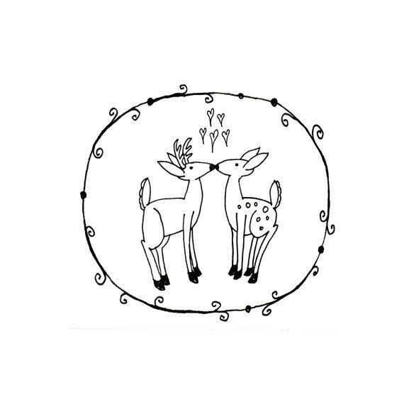 Deer Hand Embroidery Pattern Valentine's Printable Woodland Animal Digital Downloadable Download