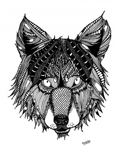 Free coloring page for adults. Wolf with doodles. Zentangle Wolf. Gratis kleurplaat voor volwassenen.