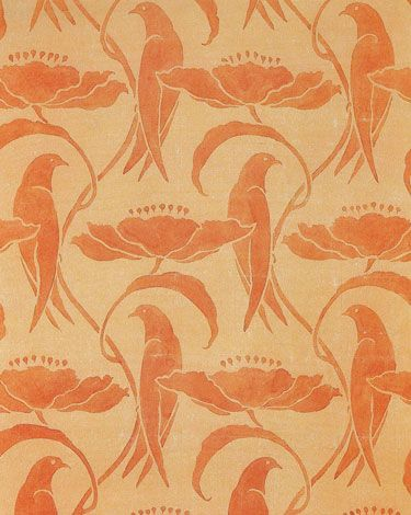 Wallpaper design by C F A Voysey, produced in 1890