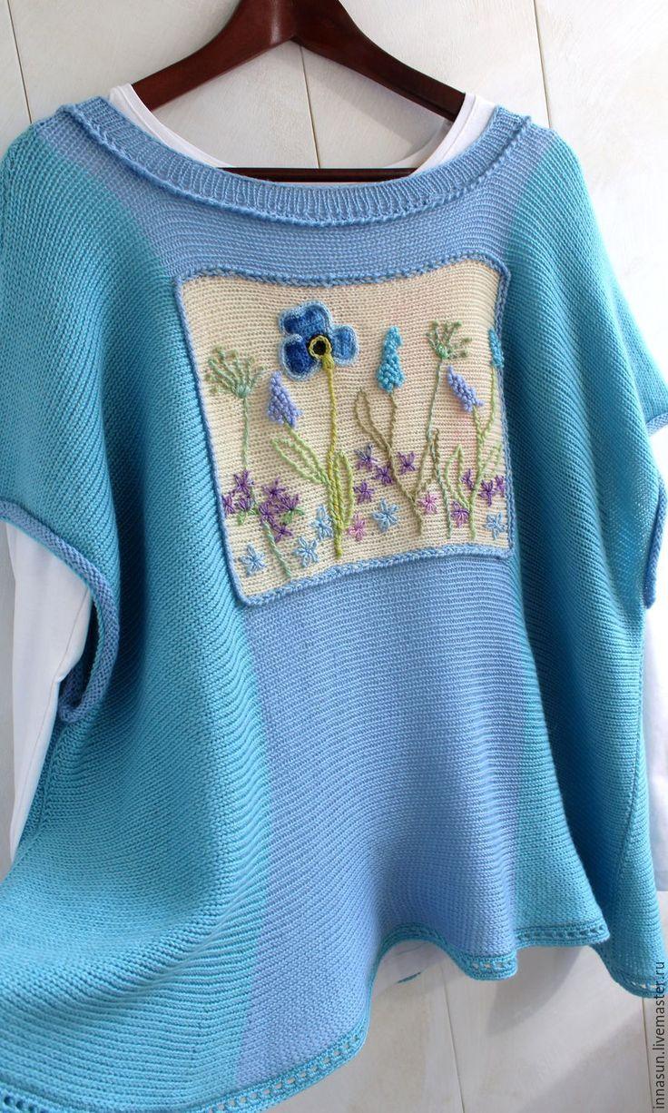 Купить Бохо джемпер Ботаника - рисунок, голубой, туника вязаная, джемпер вязаный, джемпер женский