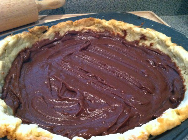 I've never tasted chocolate pie as good as my mother's. Here's her baked chocolate pie, found scribbled on a notepad.