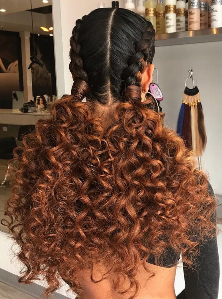 Two Braids To Two Curly Ponytails Two Braid Hairstyles Natural Hair Styles Braids With Curls
