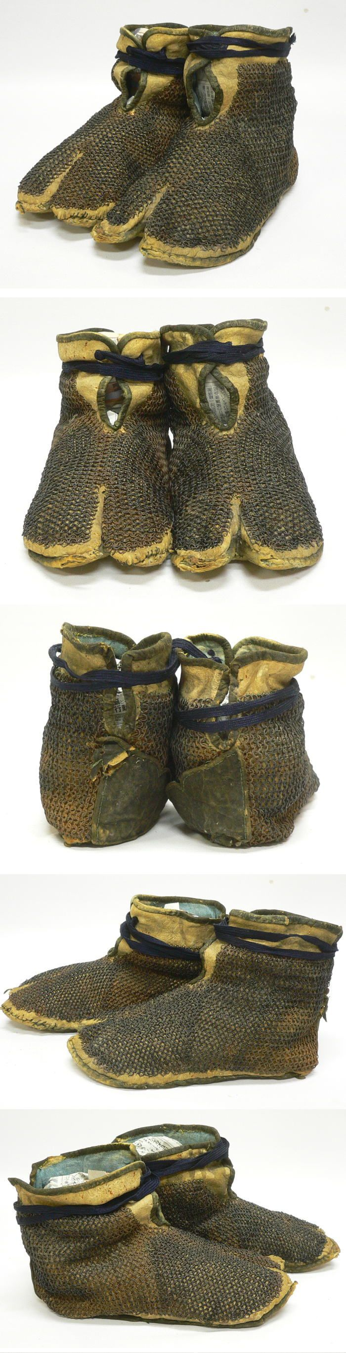 Japanese kusari kogake, leather shoes with mail armor, Edo period.