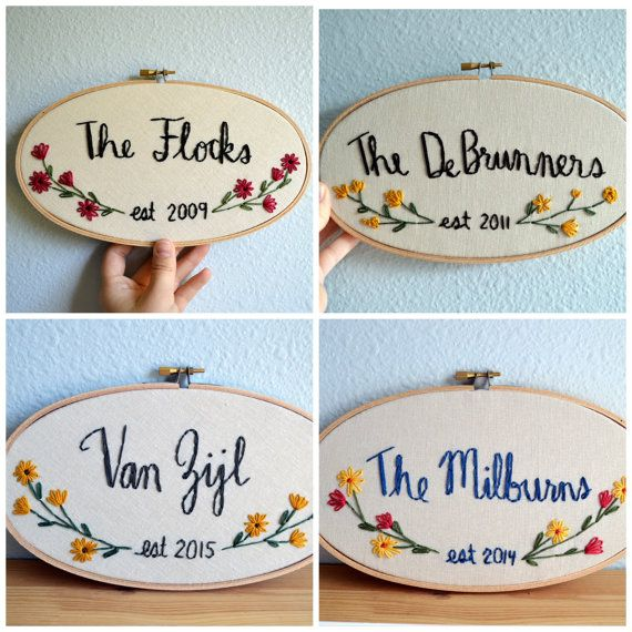Family Name Embroidery Hoop Custom Sign Floral by BreezebotPunch