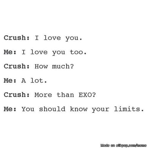 HAHAHAHAHAHAH WELL THATA TOO MUCH ASKING TO BE LOVED MORE THAN EXO♥♥