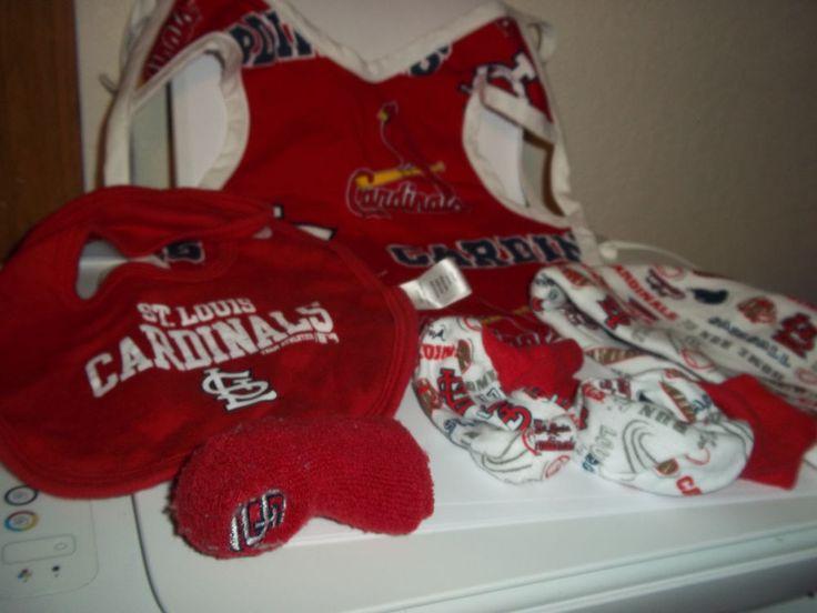 STL Saint Louis Cardinals 2 Bibs 2 Booties Hat  #Handmade #Everyday