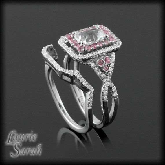 Emerald Cut Wedding Set with Chocolate Diamond Inner Halo and Contoured Wedding Band - Payment Plan Link for skydive340 - 4th Pmt