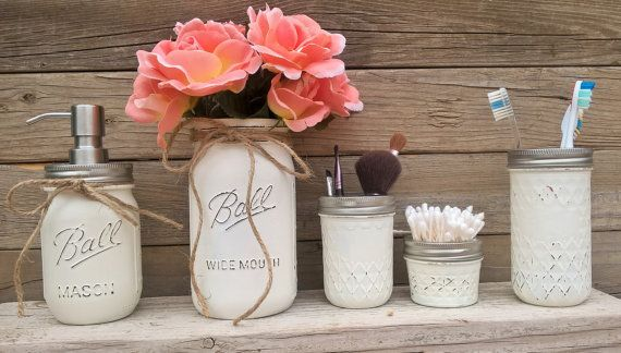 Country Bathroom Decor-Mason Jar Bathroom Set-Rustic Bathroom Decor-Country Chic Bathroom Decor-Beach Bathroom Decor-Housewarming-Wedding