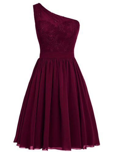 Dresstells, Une épaule Robe de demoiselle d'honneur Robe de soirée de cocktail mousseline longueur genou: Amazon.fr: Vêtements et accessoires