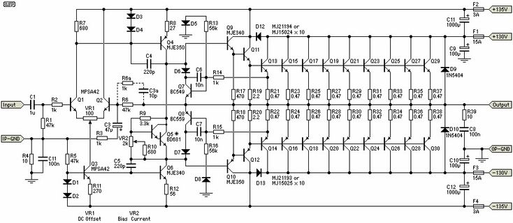 1500w power amplifier - schematic design