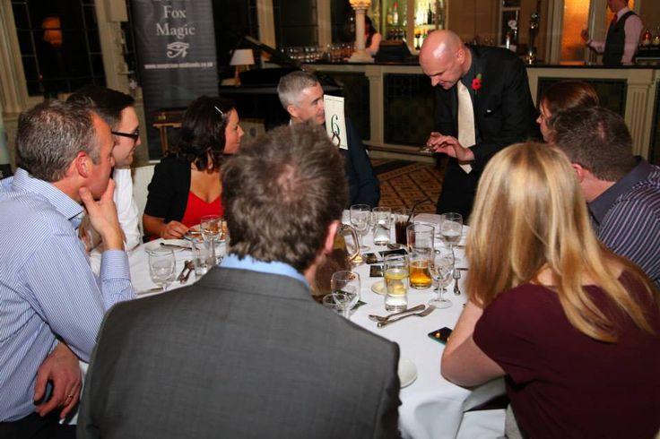 Hannah Macleod & Mark Coulson being amazed by David Fox Magician at The Social Media Awards held at Kilworth House Hotel