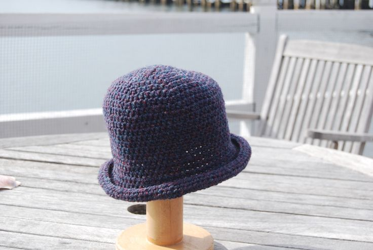 100% Wool Handcrocheted Brimmed Hat-Blackberry